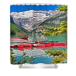 Lake Louise Shower Curtain by Dennis Cox WorldViews