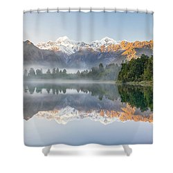 Lake Matheson Reflection Shower Curtain