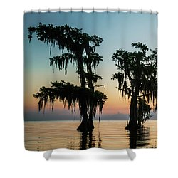 Lake Maurepas Sunrise Triptych No 3 Shower Curtain by Andy Crawford