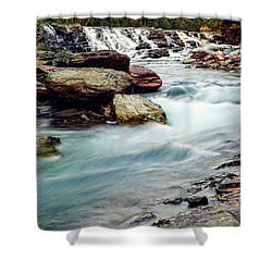 Lake Mcdonald Falls, Glacier National Park, Montana Shower Curtain