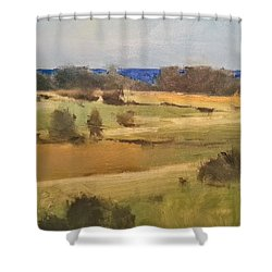 Lake Michigan Across The Field Shower Curtain