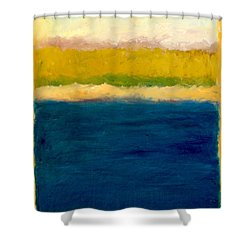 Lake Michigan Beach Abstracted Shower Curtain by Michelle Calkins