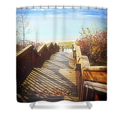 Shower Curtain featuring the photograph Lake Michigan In The North by Michelle Calkins