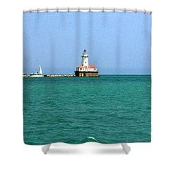 Shower Curtain featuring the photograph Lake Michigan Light House by Haleh Mahbod