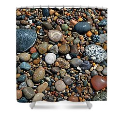 Shower Curtain featuring the photograph Lake Michigan Stone Collection by Michelle Calkins