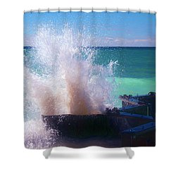 Lake Michigan Wave Crash Shower Curtain
