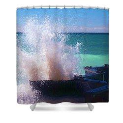 Lake Michigan Wave Crash Shower Curtain