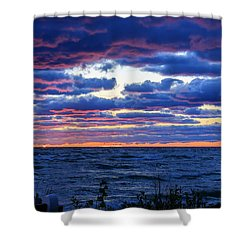 Lake Michigan Windy Sunrise Shower Curtain