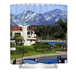 Lake Mission Viejo Snow On Saddleback Mountain Shower Curtain