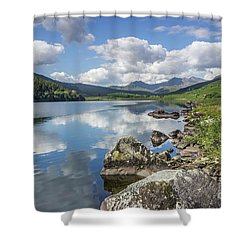 Shower Curtain featuring the photograph Lake Mymbyr And Snowdon by Ian Mitchell