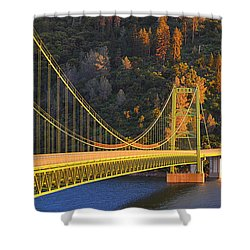 Shower Curtain featuring the photograph Lake Oroville Green Bridge At Sunset by AJ Schibig