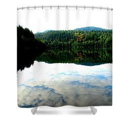 Lake Padden Cloud Reflection Shower Curtain by Karen Molenaar Terrell