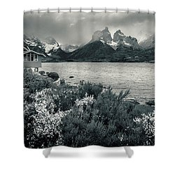 Lake Pehoe In Black And White Shower Curtain by Andrew Matwijec