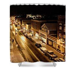 Lake Placid New York - Main Street Shower Curtain by Brendan Reals