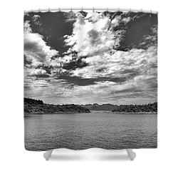 Lake Pleasant In Black And White Shower Curtain by Anne Rodkin