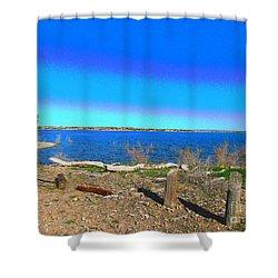 Lake Pueblo Painted Shower Curtain
