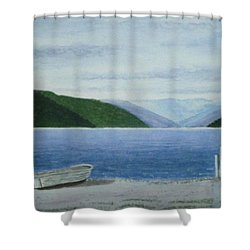Lake Rotoroa, South Island, New Zealand Shower Curtain by Peter Farrow