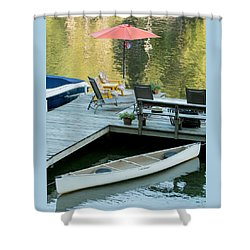 Lake-side Dock Shower Curtain