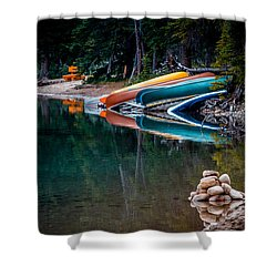 Kayaks At Rest Shower Curtain