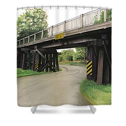 Shower Curtain featuring the painting Lake St. Rr Overpass by Ferrel Cordle