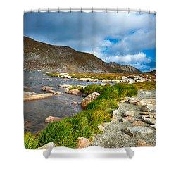 Lake Summit Tundra Path Shower Curtain