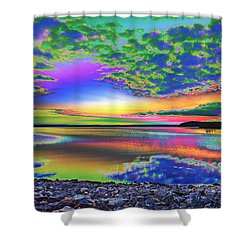 Lake Sunset Abstract Shower Curtain