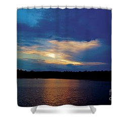 Shower Curtain featuring the painting Lake Sunset by Debra Crank
