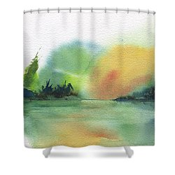 Lake Sunset Shower Curtain by Frank Bright