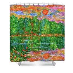 Lake Sunset Shower Curtain by Kendall Kessler