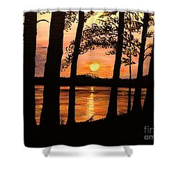 Shower Curtain featuring the painting Lake Sunset by Patricia L Davidson