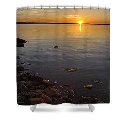 Lake Sunset Shower Curtain by Rob Graham