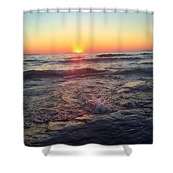 Lake Superior July Sunset  Shower Curtain