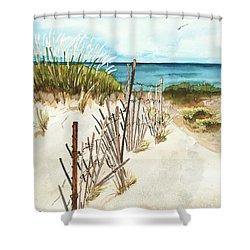 Lake Superior Munising Shower Curtain by Sandra Strohschein