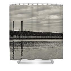 Lake Superior Oar Dock Shower Curtain by Dan Hefle