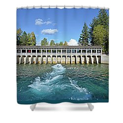 Shower Curtain featuring the photograph Lake Tahoe Dam by David Lawson
