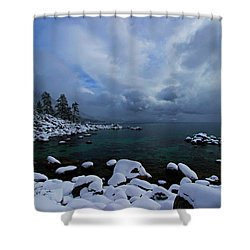 Lake Tahoe Snow Day Shower Curtain by Sean Sarsfield