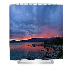 Lake Tahoe Sunset Portrait 2 Shower Curtain by Sean Sarsfield