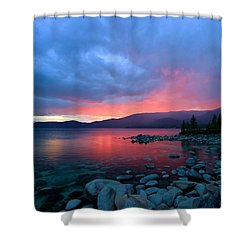 Lake Tahoe Sunset Shower Curtain by Sean Sarsfield