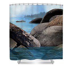 Lake Tahoe With Wooden Boat Shower Curtain by Julie Rodriguez Jones