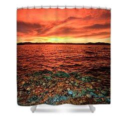 Lake Tahoe...blood Moon Sunset Shower Curtain