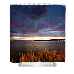 Lake Taupo Sunset Shower Curtain by Marc Garrido