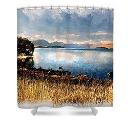 Shower Curtain featuring the digital art Lake Tekapo by Kai Saarto