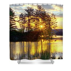 Lake Tiorati Golden Sunrise Shower Curtain by Angelo Marcialis