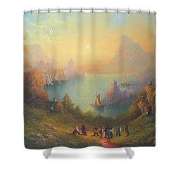 Lake Town Thirteen Dwarves And A Hobbit Named Bilbo Shower Curtain by Joe  Gilronan