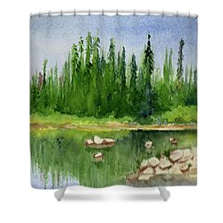 Shower Curtain featuring the painting Lake View 1-2 by Yoshiko Mishina