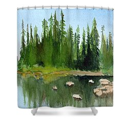 Shower Curtain featuring the painting Lake View 1 by Yoshiko Mishina