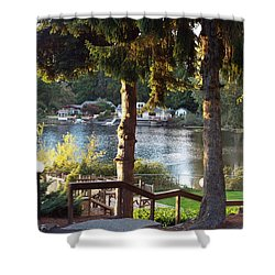 Beverly Lake View In Fall Shower Curtain