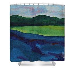 Lake Visit Shower Curtain by Annette M Stevenson