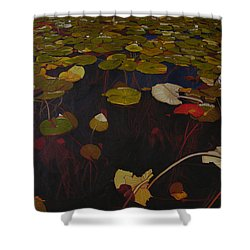 Shower Curtain featuring the painting Lake Washington Lilypad 7 by Thu Nguyen