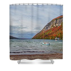 Lake Willoughby Blustery Fall Day Shower Curtain